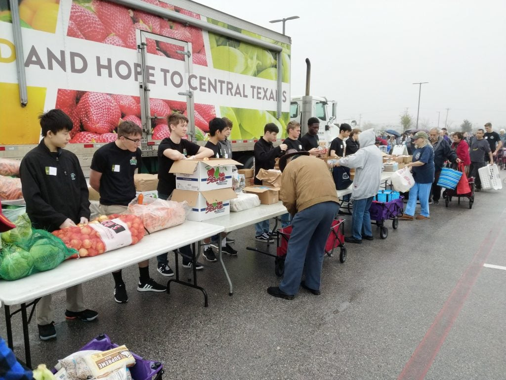 Students participating in a food drive
