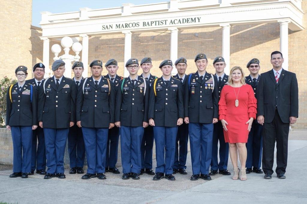 JROTC students line up in full uniform