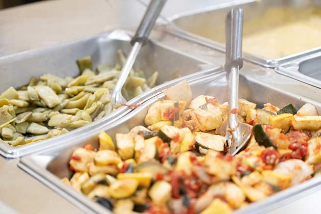 Delicious food options are layed out at the dining hall.