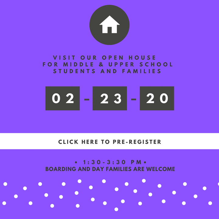Visit our open house for middle & upper school students and families. Click for details and pre-registration.