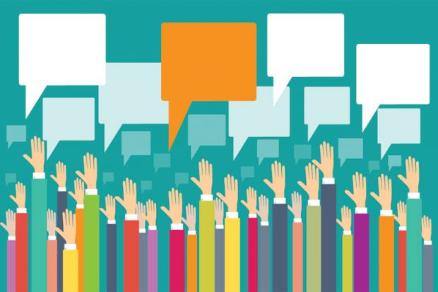 Raised hands and speech bubbles illustrate responses to the survey improving your college prep school in Texas.