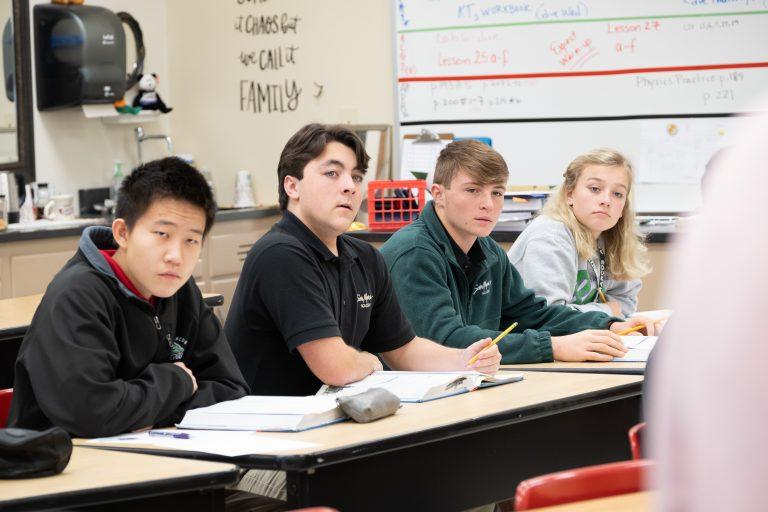 Upper school boarding students in class