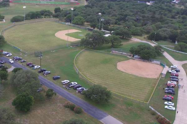 Areal view of the baseball and softball fields